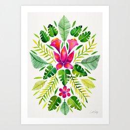Tropical Symmetry – Pink & Green Art Print