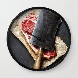 vintage cleaver and raw beef steak on dark background Wall Clock