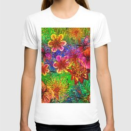 Tropical Heat-Colorful Floral Exotic Tropical Flower Pattern T-shirt