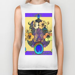 Decorative  Modern Floral Purple-cream Peacock art Biker Tank