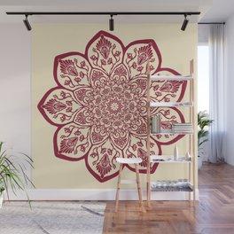 Burgundy & Cream Mandala Wall Mural