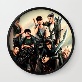 Zombie Hunter GOT7 - digital art Wall Clock