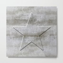 Solid Star in grey conrete Metal Print