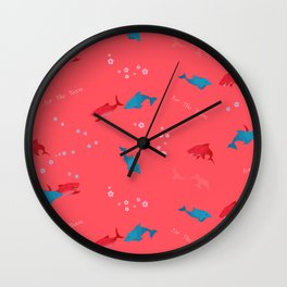 Pink Shark and Dolphin Wall Clock
