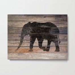 Rustic Elephant Animal Silhouette on Wood A215 Metal Print