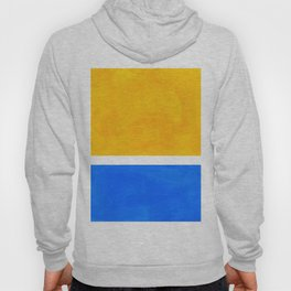 Primary Yellow Cerulean Blue Mid Century Modern Abstract Minimalist Rothko Color Field Squares Hoody