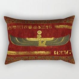 Golden Egyptian God Ornament on red leather Rectangular Pillow