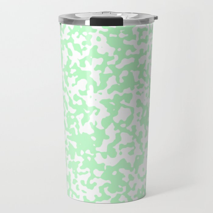 Small Spots - White and Mint Green Travel Mug