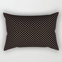 Black and Carafe Polka Dots Rectangular Pillow