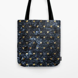 Gold Glitter Hearts on Blue-Black Scratched Suede Tote Bag