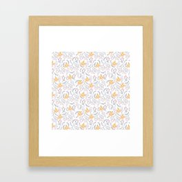 Blooms in Yellow and Pink Framed Art Print