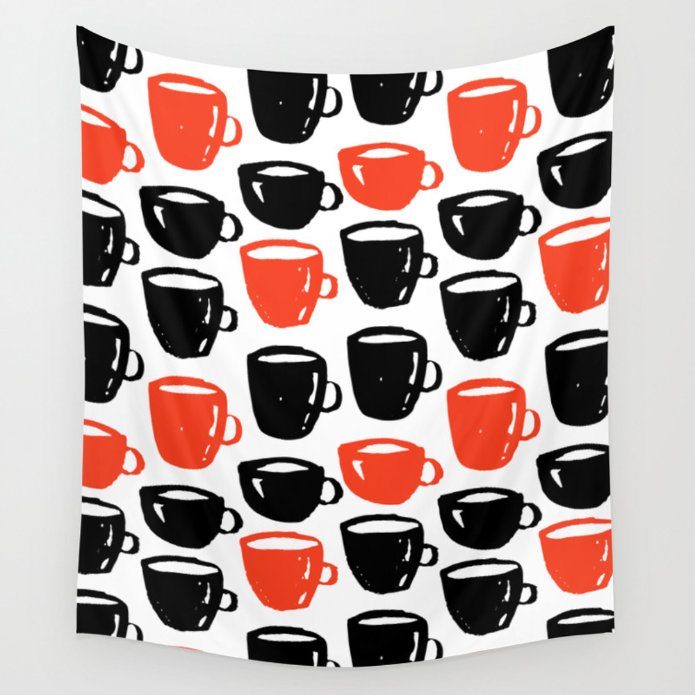 Quirky Cool Coffee Cups Pattern Wall Tapestry by Ankka TPS7928857