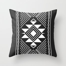 Aztec boho ethnic black and white Throw Pillow