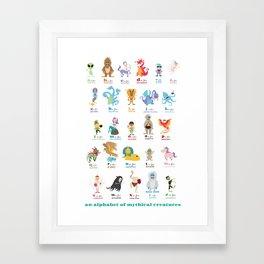 An Alphabet of Mythical Creatures Framed Art Print