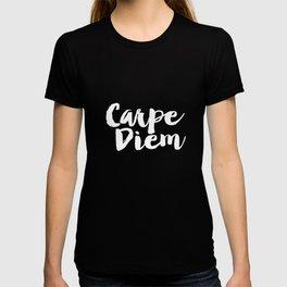 Carpe Diem black and white typography poster black-white design home decor bedroom dorm wall art T-shirt