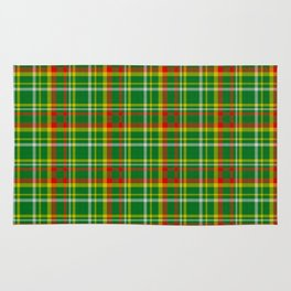 Green Red Yellow and White Plaid Rug