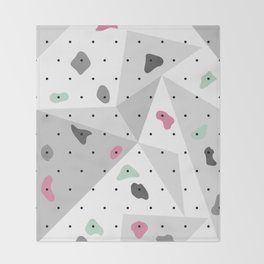 Abstract geometric climbing gym boulders pink mint Throw Blanket