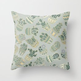 Mint green black faux gold cactus floral Throw Pillow