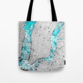 NEW YORK CITY OCEAN MAP Tote Bag