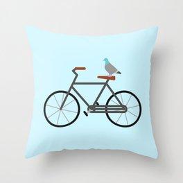Pigeon Riding Bike Throw Pillow