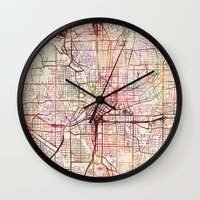 atlanta Wall Clocks featuring Atlanta by MapMapMaps.Watercolors