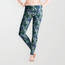 Tropical Floral Aqua Leggings