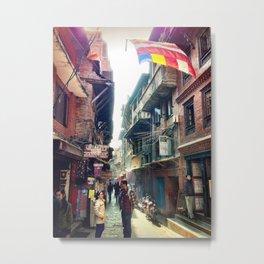 A Bhaktapur Alley Metal Print