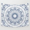 Grayish Blue White Flowers Mandala by ninabaydur