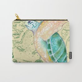 Sea Turtle Yellow Map Carry-All Pouch