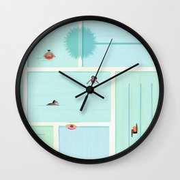Saturdays At The Pool Wall Clock