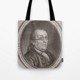 Vintage Portrait of Ben Franklin (1787) Tote Bag