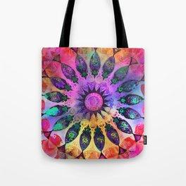 Golden Rainbow Sun Kaleidoscope Tote Bag