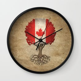 Vintage Tree of Life with Flag of Canada Wall Clock