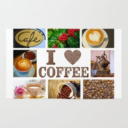 I Love Coffee Collage - Cafe or Kitchen Decor Rug