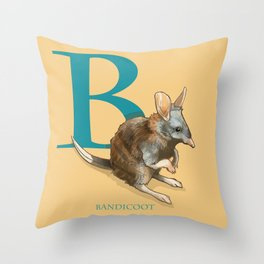 """B is for Bandicoot"": The UnderAppreciated Animals™ series Throw Pillow"