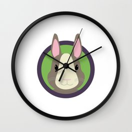 Cute Rabbit head with purple cirlcle Wall Clock