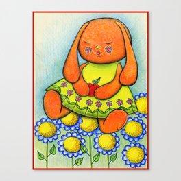 Daisy Summer Bunny Girl Canvas Print