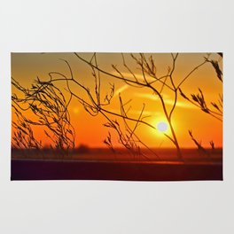 Sunset through the bushes Rug