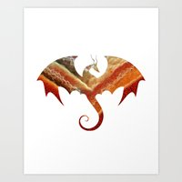 smaug Art Prints featuring Smaug by Emmy Winstead