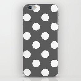 Large Polka Dots - White on Dark Gray iPhone Skin