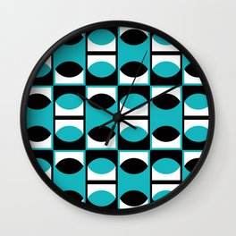 Geometric Pattern #133 (turquoise lens) Wall Clock