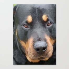 Beautiful Female Rottweiler Portrait Vector Canvas Print