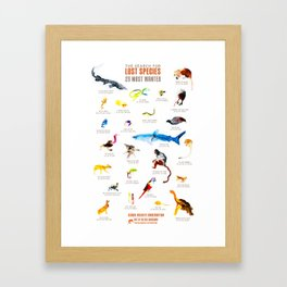 Top 25 Lost Species Framed Art Print