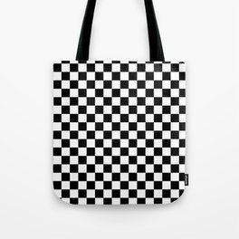 White and Black Checkerboard Tote Bag