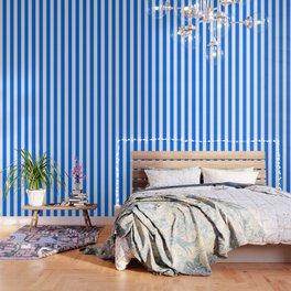 Brandeis blue - solid color - white vertical lines pattern Wallpaper