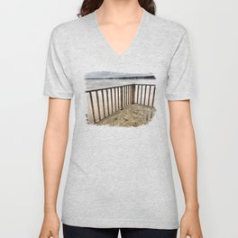 Lookout at Mississippi River, Illinois, Winter 2017 Unisex V-Neck