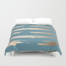 Abstract Painted Stripes Gold Tropical Ocean Blue Duvet Cover