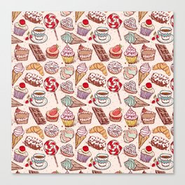 Hand drawn confectionery croissant Cupcake candy ice cream cake donut and coffee Canvas Print