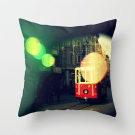 colorful tram in Istanbul Throw Pillow
