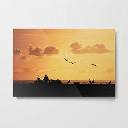 Fisherman at sunset Metal Print